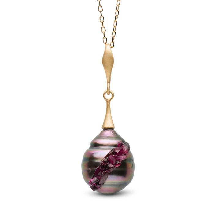 Tahitian Pearl and Ruby Spiral Collection Pendant