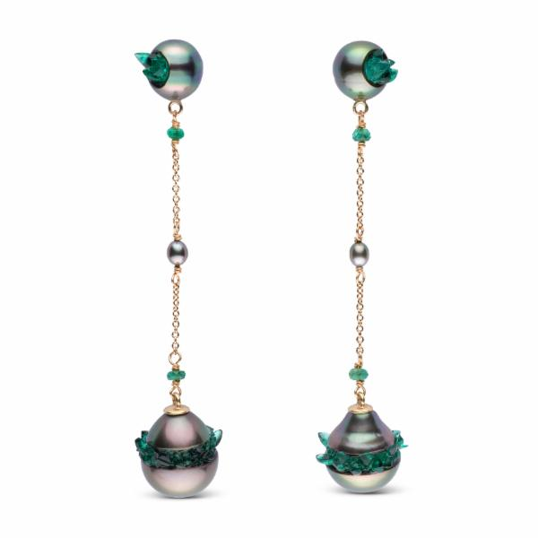 Tahitian Pearl and Emerald Spiral Collection Dangle Earrings