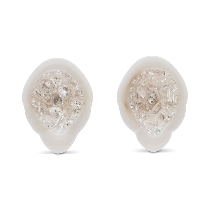 White South Sea Geode Stud Earrings with Mixed Diamonds