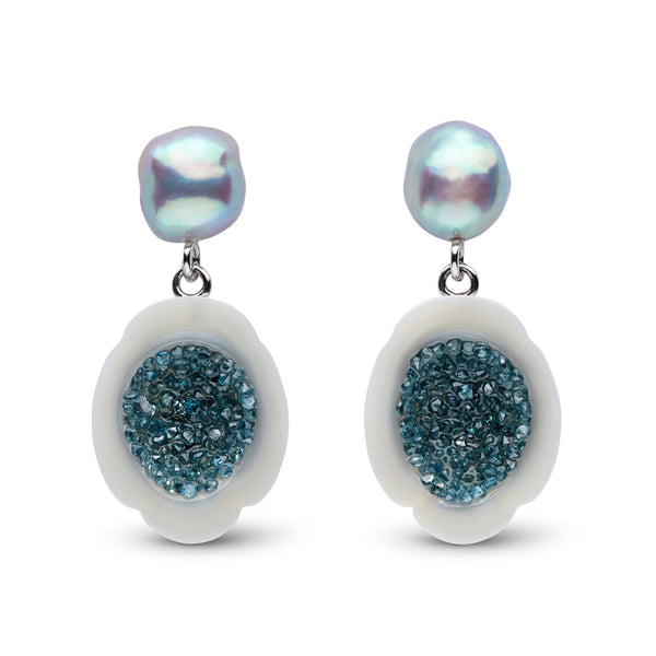 Blue Diamond and White South Sea Pearl Earrings