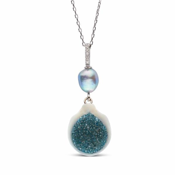 Blue Diamond and White South Sea Pearl Geode Pendant