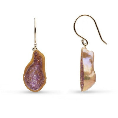 Small Amethyst Pearl Geode Earrings