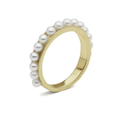 Infinity Style Band Ring with Seed Pearls