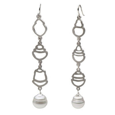 White South Sea Baroque Pearl Long Dangle Earrings