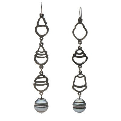 Tahitian Pearl Long Dangle Earrings