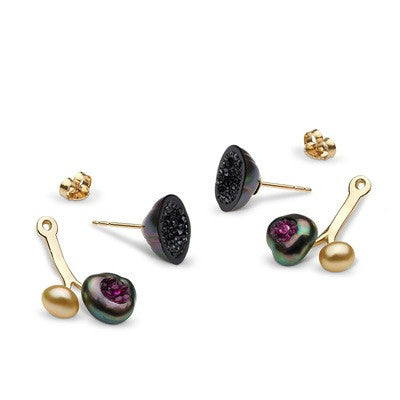 3 Pearl Earring and Jacket set with Black Diamonds and Rubies