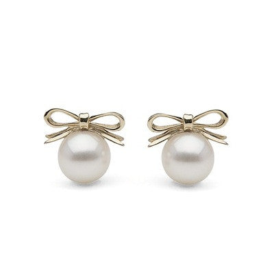 White Freshwater Pearl with Bow Stud Earrings