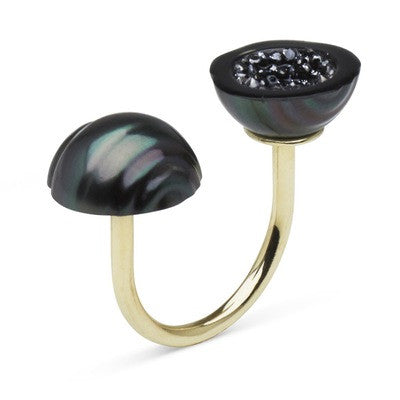 Tahitian Pearl and Black Diamond Geode Ring