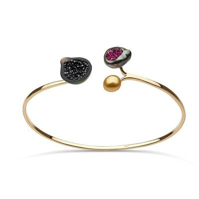 3 Pearl Geode Bracelet with Black Diamonds and Rubies