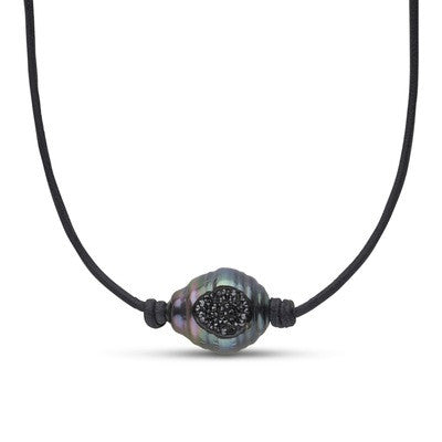 Tahitian Pearl and Diamond Reversible Necklace in 14k White Gold