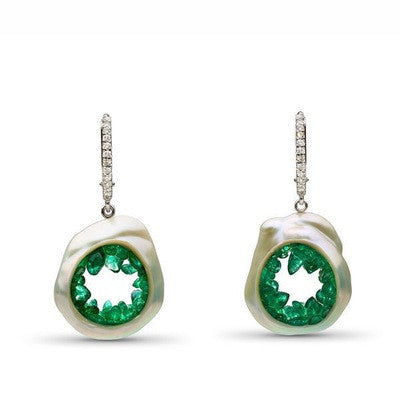 Grotto Collection Emerald Earrings with Diamonds