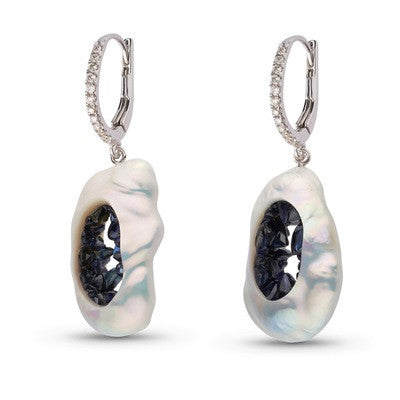 Blue Sapphire Grotto Diamond Earrings