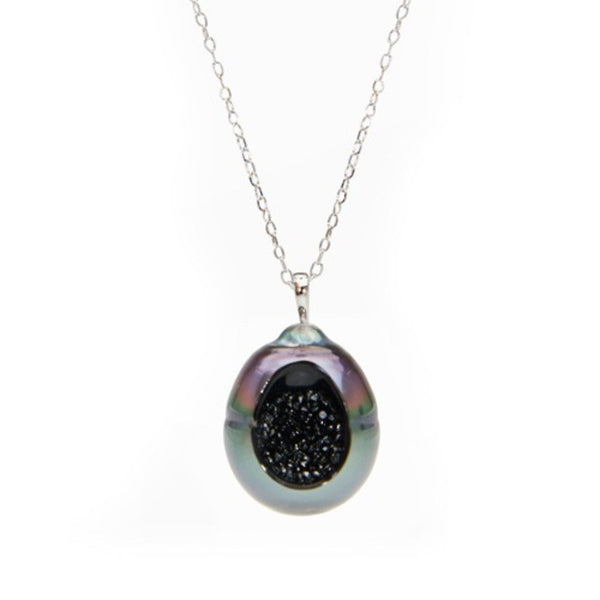 Tahitian Pearl and Black Diamond Finestrino Pendant