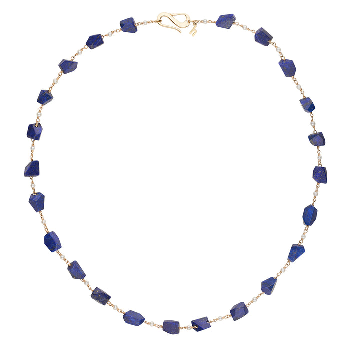 Faceted Lapis and Freshwater Seed Pearl necklace