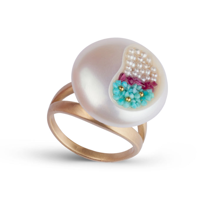 Freshwater Coin Pearl, Ruby, Seed Pearl and Turquoise Double Band Ring
