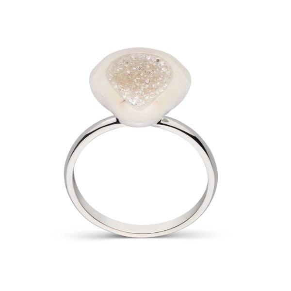 White Diamond South Sea Pearl Geode Ring