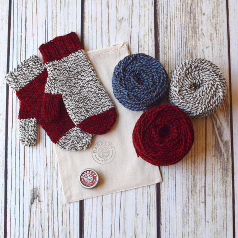 Three Color Waiting For Winter Bulky Twist Mittens Kit