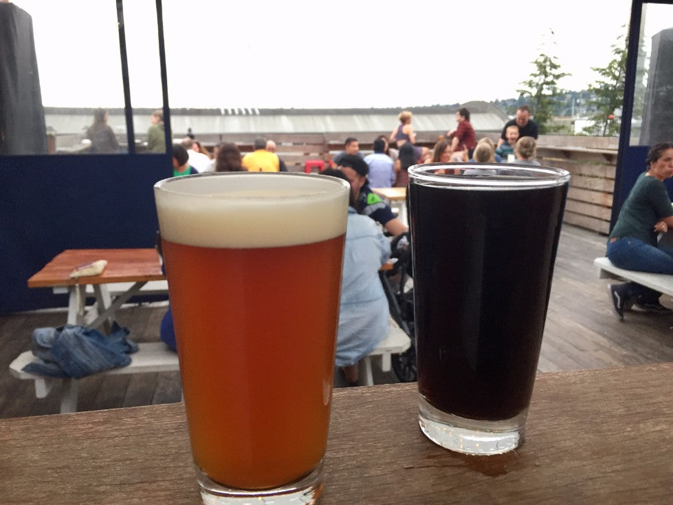 Two Pints on the Bar at Rooftop Brewing Co.