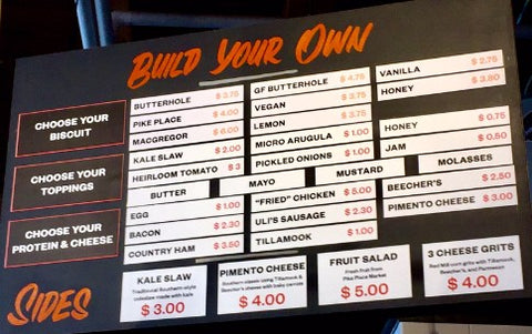 Menu at Honest Biscuits at Pike Place Market