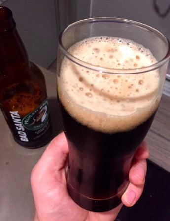 Pelican Brewery Cannon Beach Bad Santa Cascadian Dark Ale Glass Pour