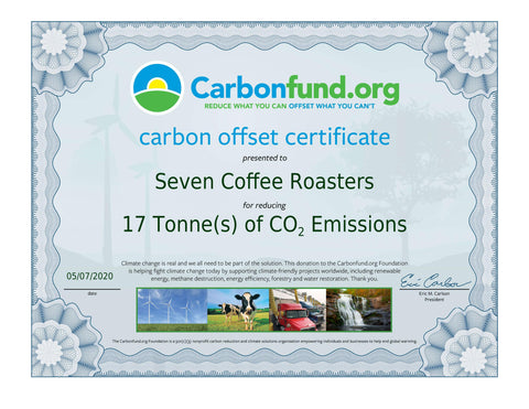 Seven Coffee Roasters Carbon Fund Certificate