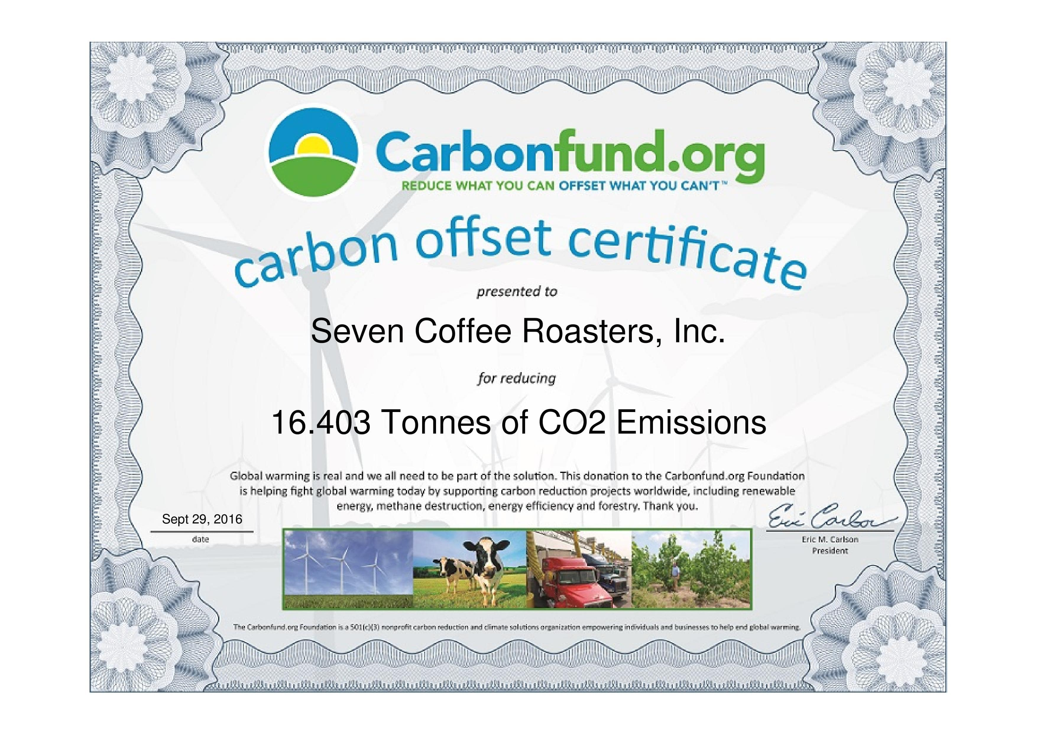 Seven Coffee Roasters Carbon Fund Certificate 2016