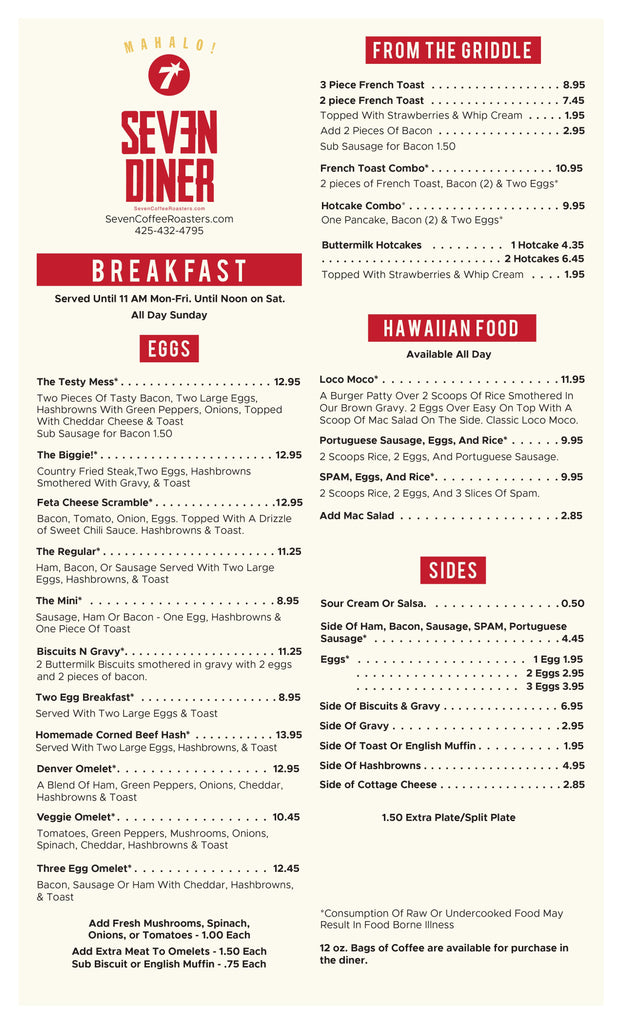 Seven Diner Breakfast Menu