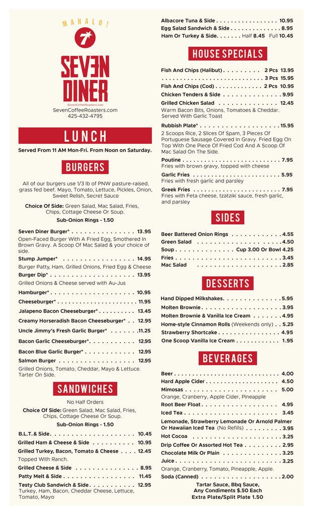 Seven Diner Lunch Menu