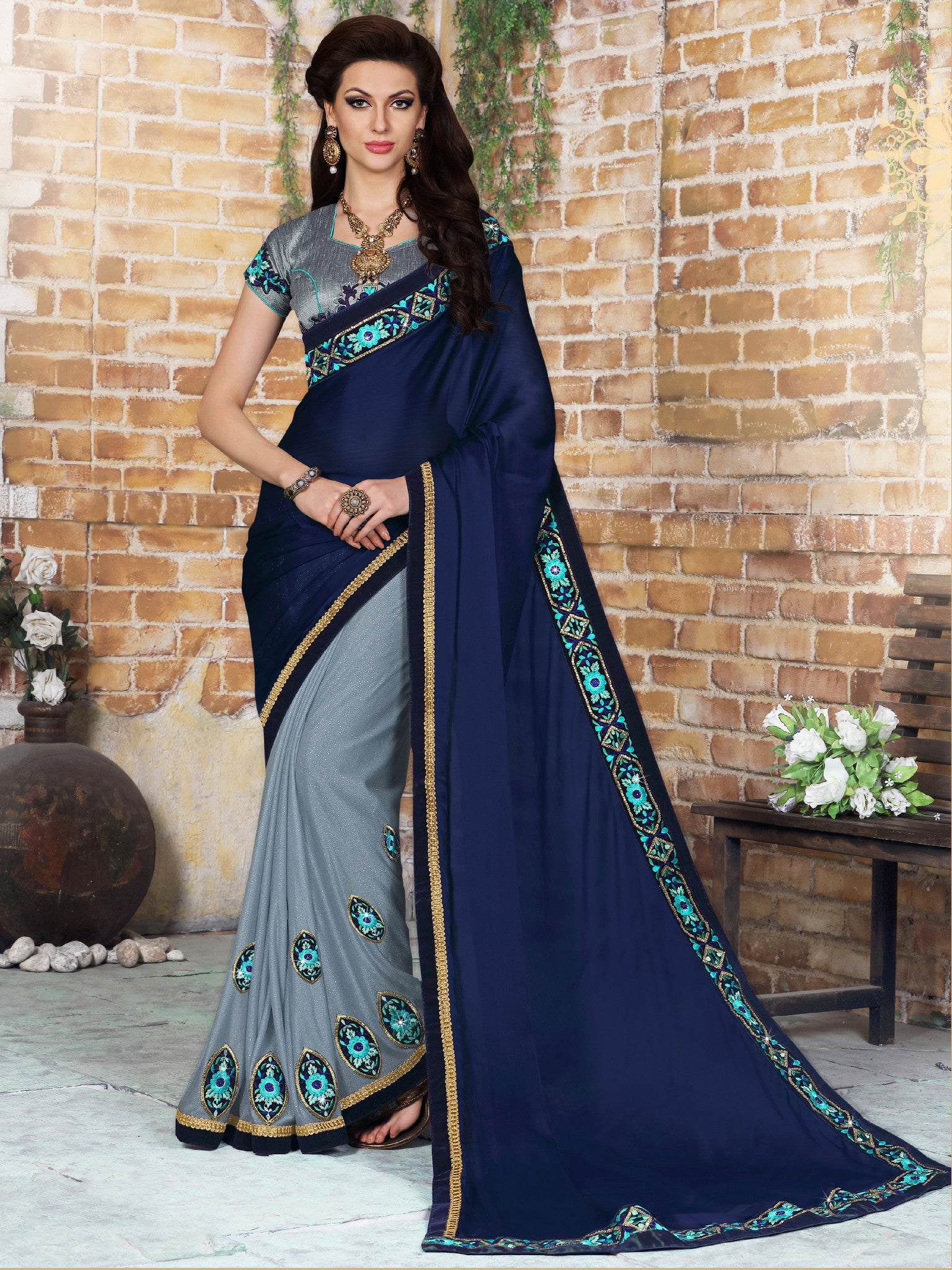 Navy Blue & Grey Faux Satin Chiffon & Net Embroidered Saree