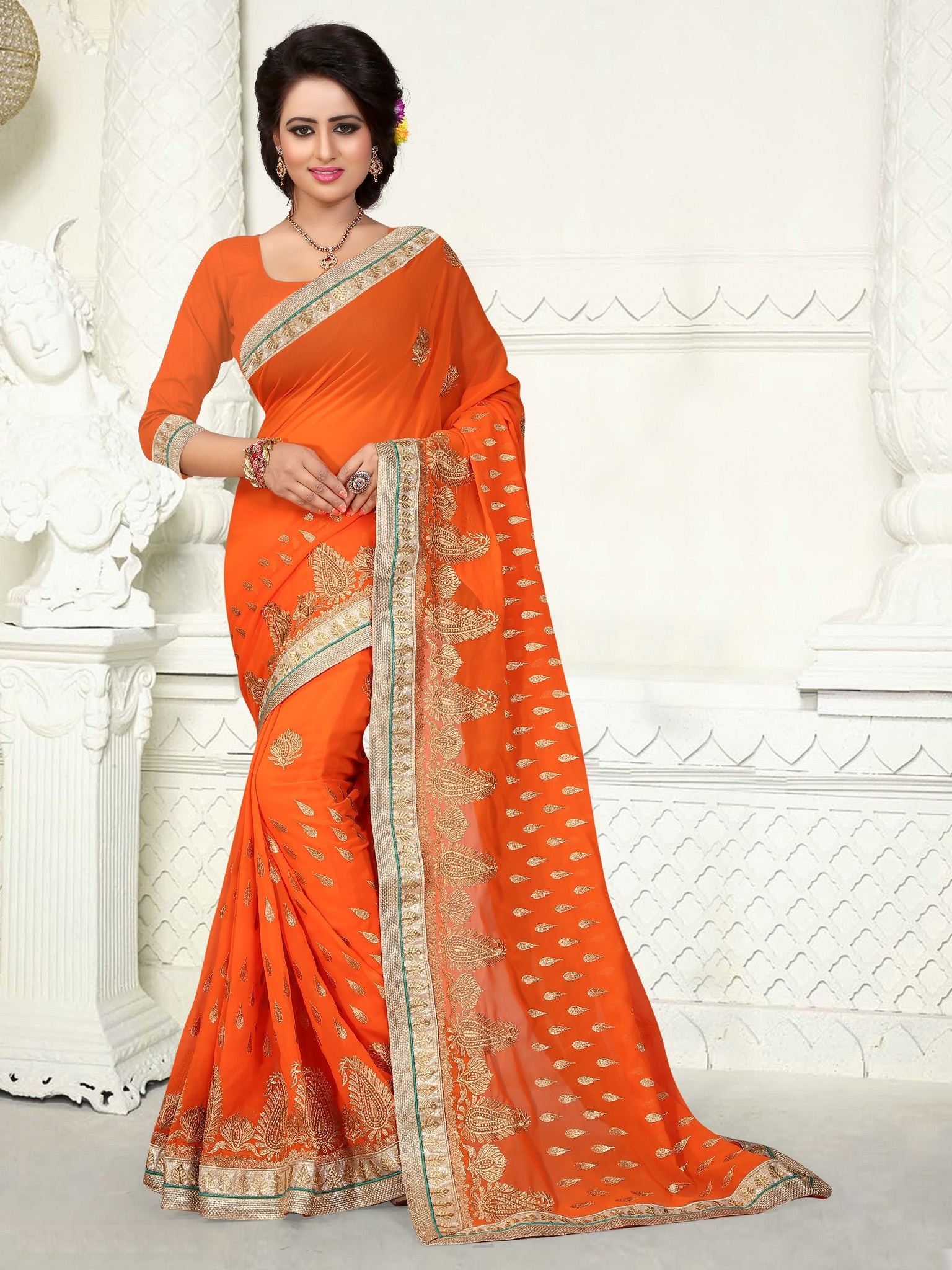 Stylish Multi Colored Georgette Saree - B