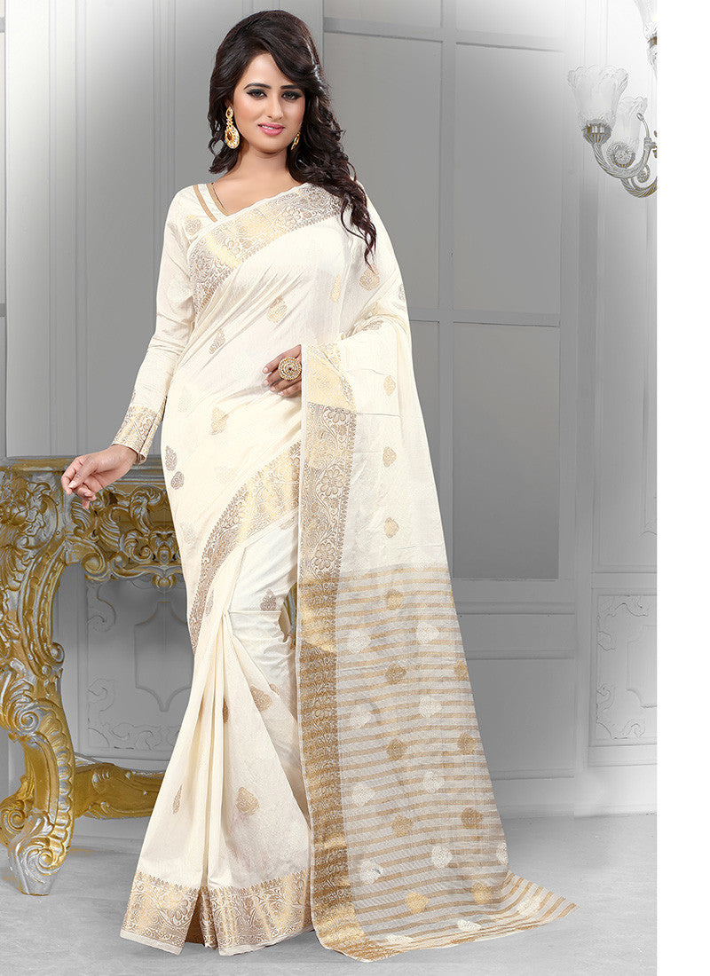Off White Banarasi Silk With Jacquard Saree.