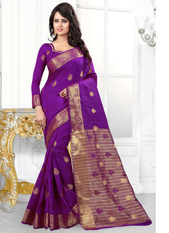 Signature Banarasi Purple Silk Jacquard Saree
