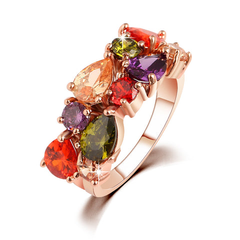 Colorful Zircon Crystal Rings