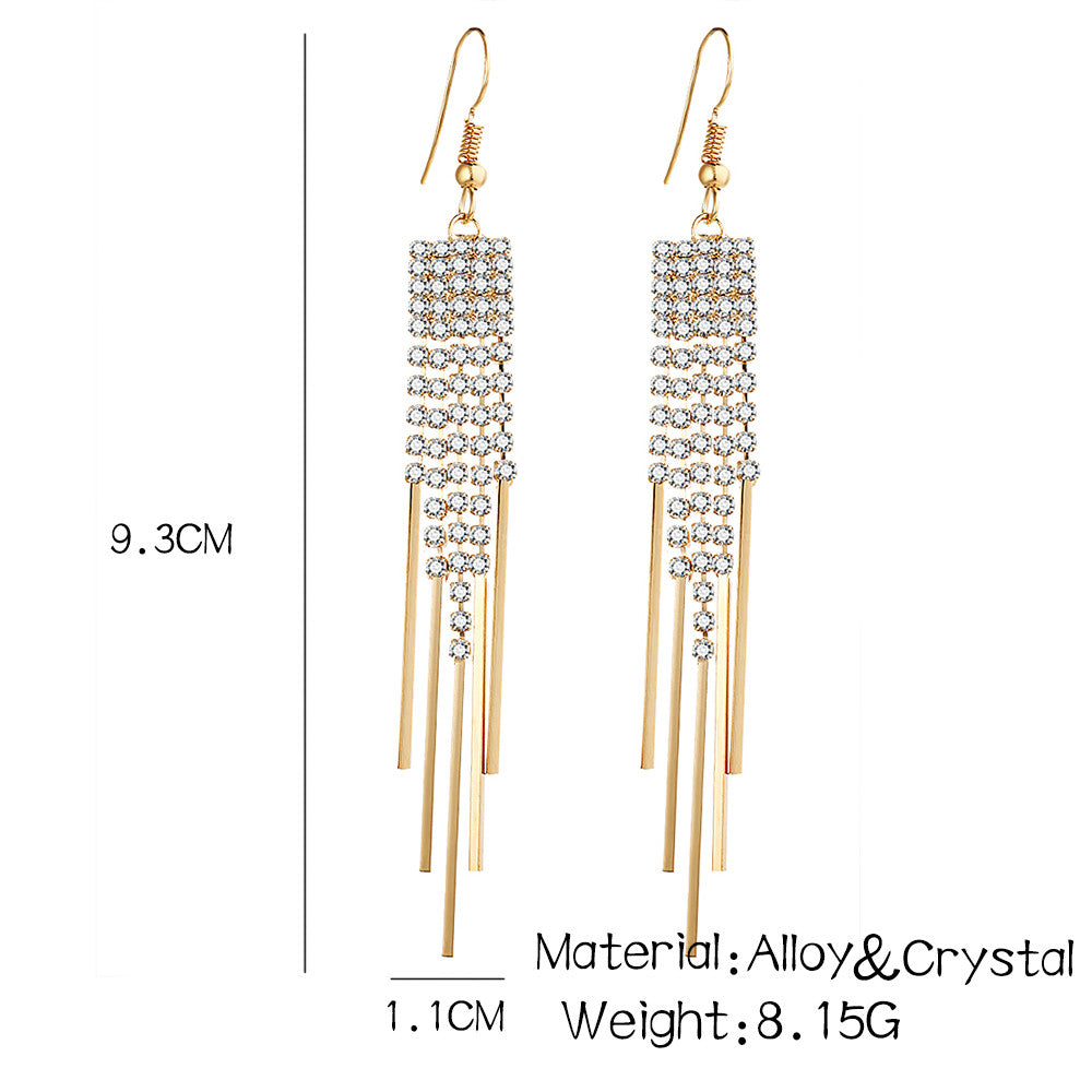 Silver and Gold Trendy Crystal Drop Earrings