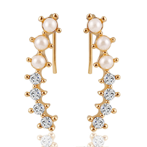 Pearl Crystal 6 Beads Cuff Ear Clips Earring