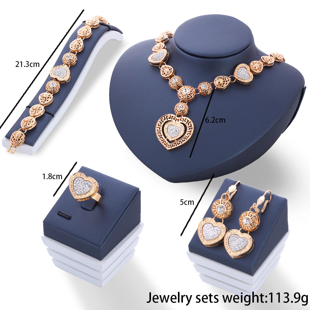 Gold Hollow Out Crystal Heart Jewelry Set