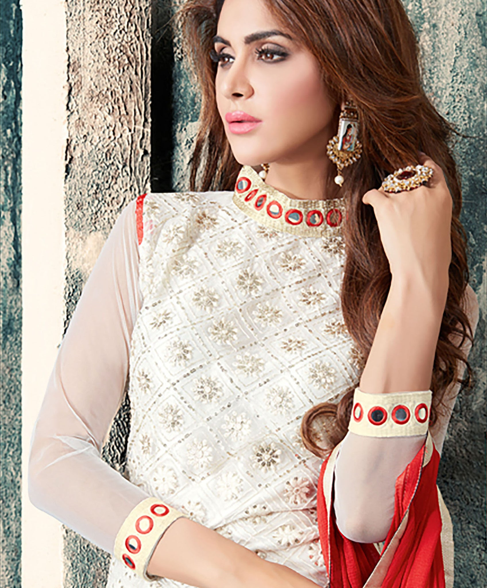 Off White Net Salwar Suit.