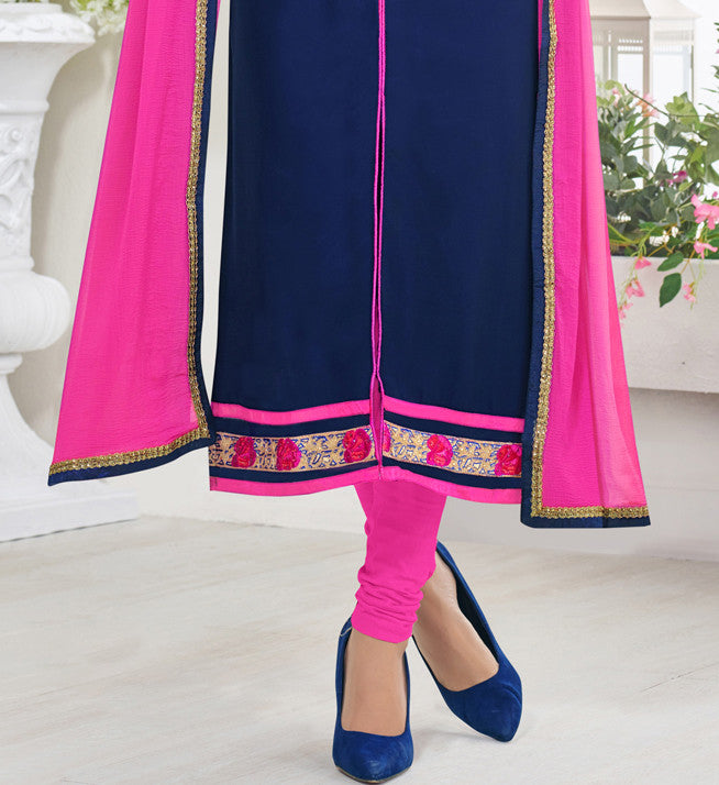 Blue Georgette Salwar Suit.