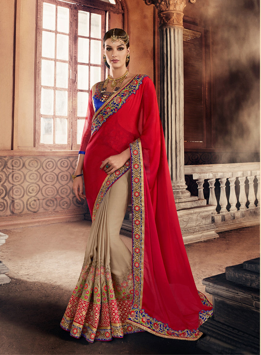 Beige & Red Georgette Saree.