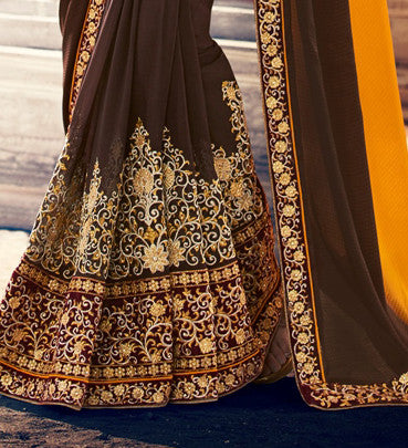 Brown & Yellow Crepe Georgette Saree.