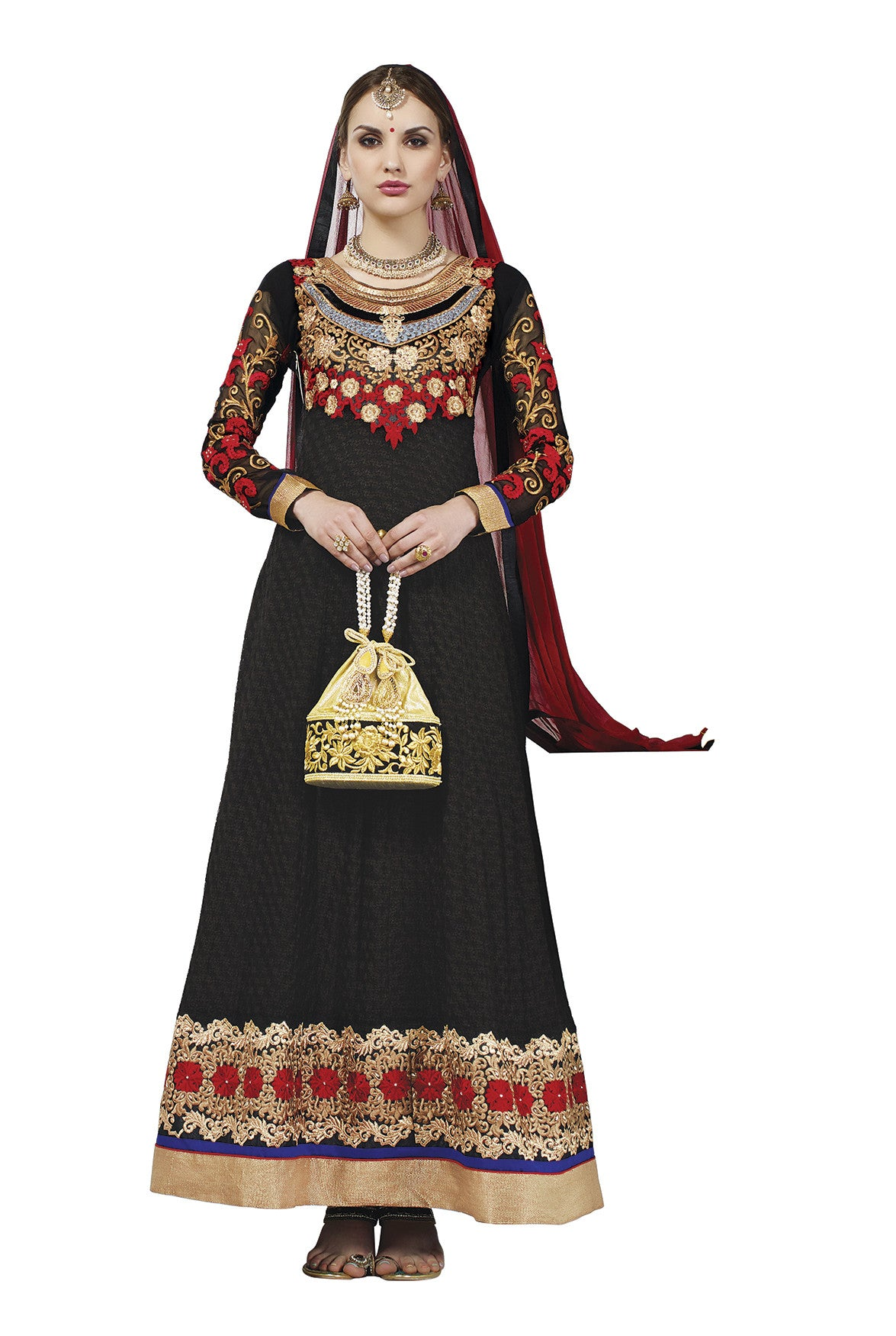 Black Georgette Traditional Suit