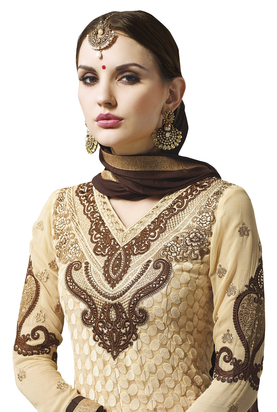 Beige and Brown Georgette Traditional Suit