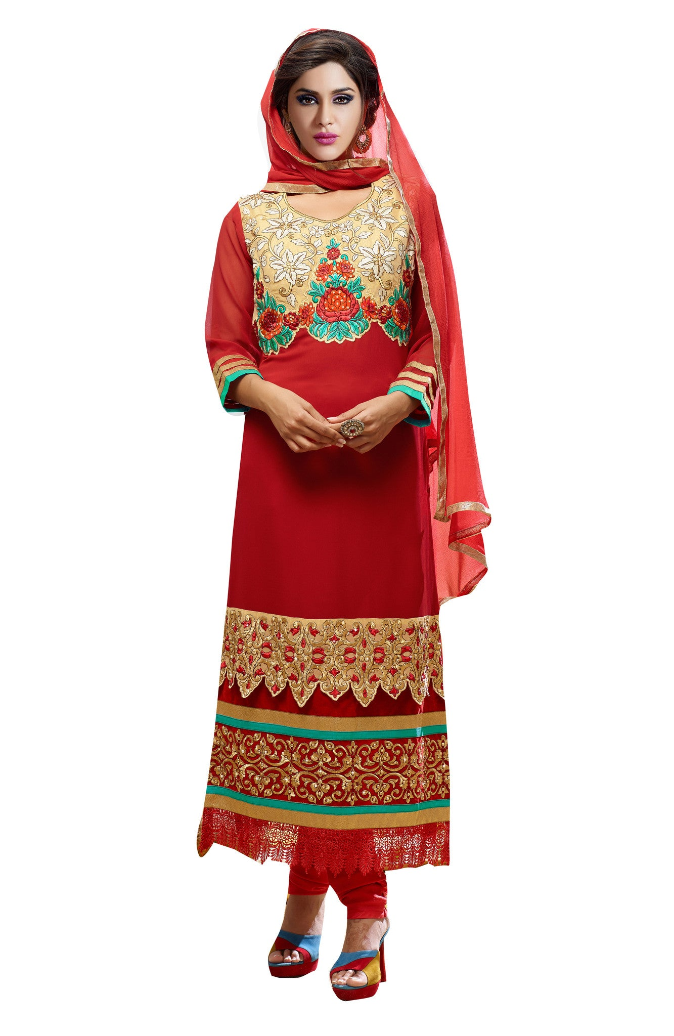 Beautiful Red Georgette Suit.