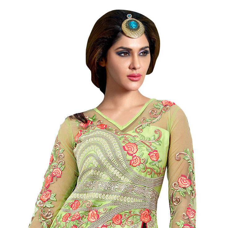 Amazing Traditional Green Silk Suit.
