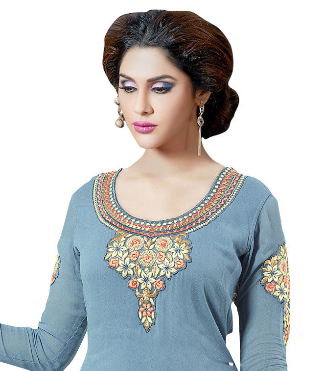 Designer Sea Blue Salwar Suit.