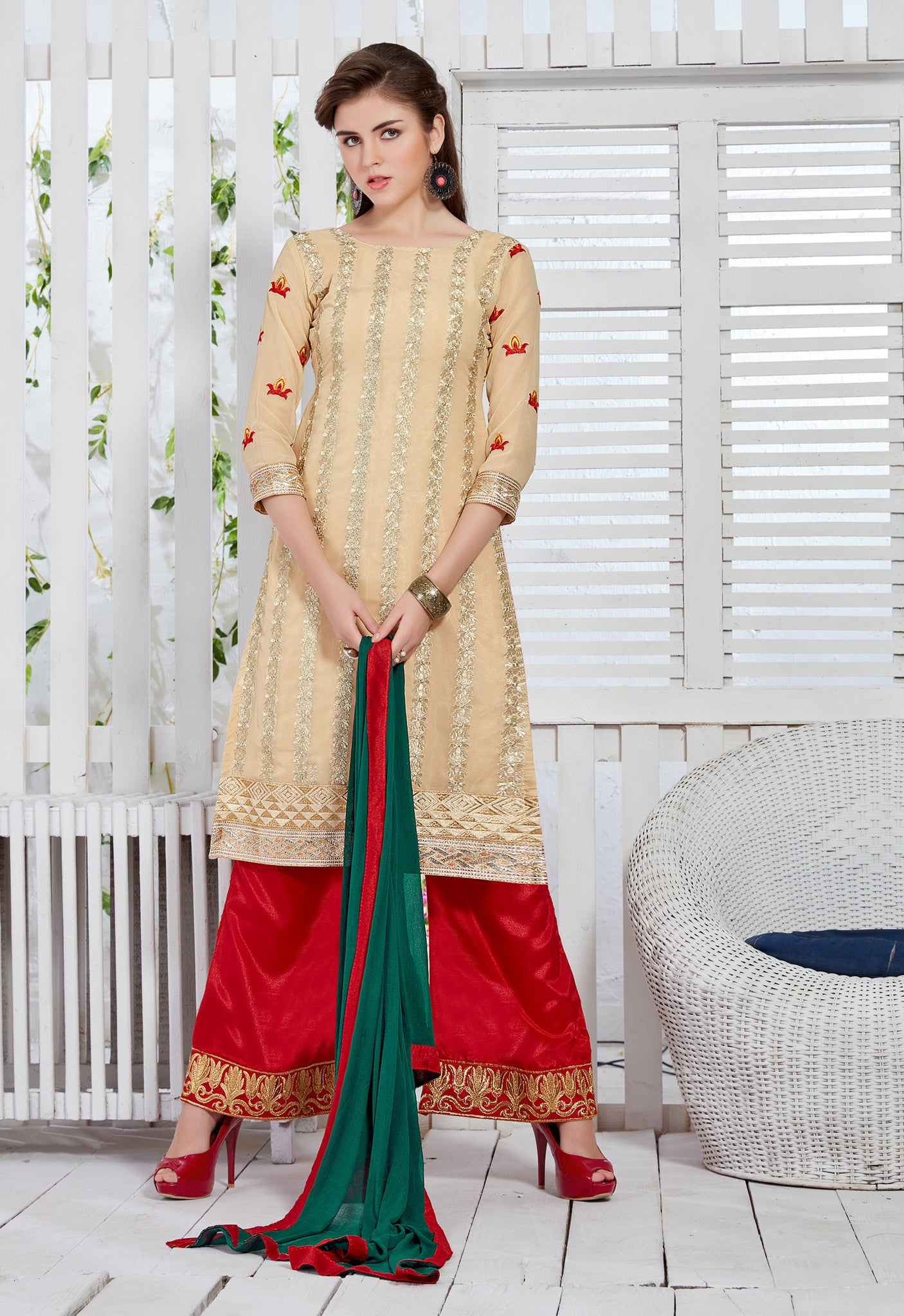 Beige and Red Georgette Embroidered Suit