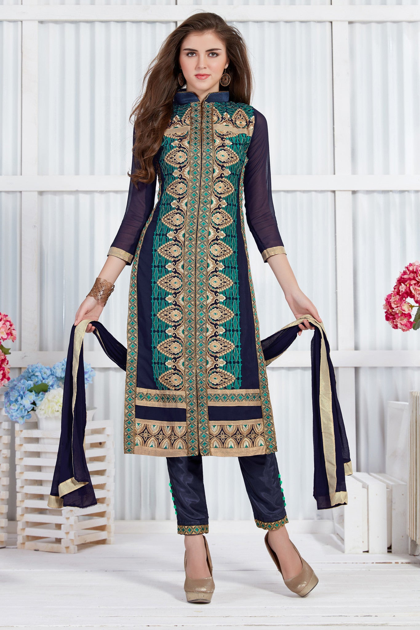 Lovely Blue Georgette Salwar Suit.