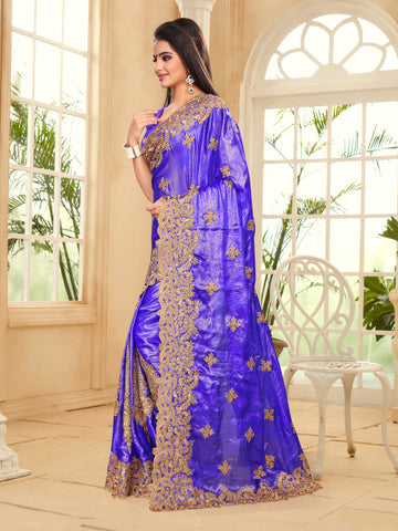 Signature Purple Satin Chiffon Double Coating Saree.