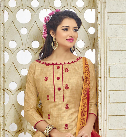 Silk Beige and Red Salwar Suit