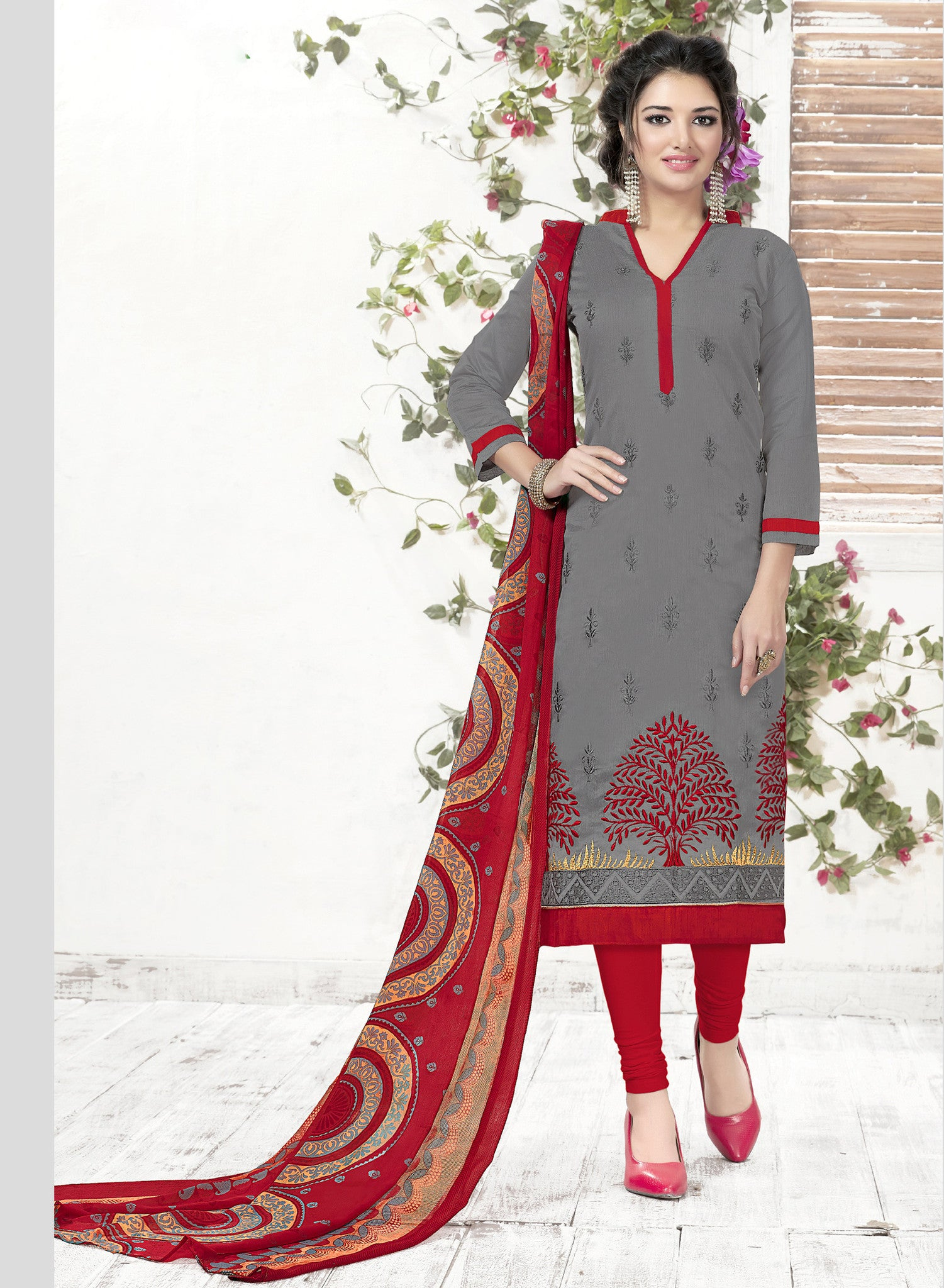 Multi Colored Chanderi and Cotton Salwar Suit - A